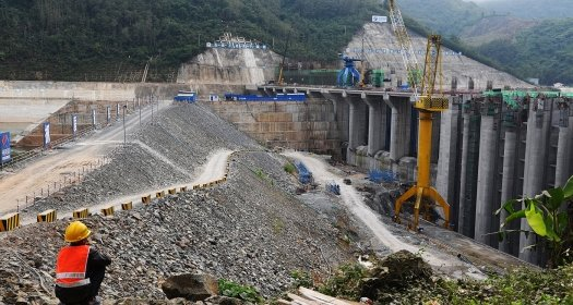 Hydropower Dam Under Construction in Luang Prabang, Laos